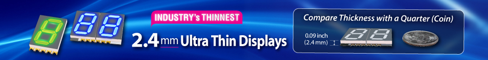 Kingbright Super Thin SMD Display 2.4mm Industry Thinnest